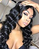 Maxine 10A Loose Wave Lace Front Wigs 150% Density Malaysian Remy Human Hair Adjustable Wigs with Baby Hair for Black Women Can Be Dyed and Bleached 16inch