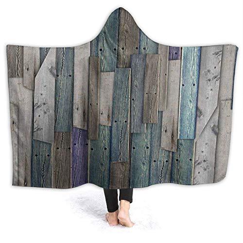 AEMAPE Azul Gris Grunge tablones rústicos Barn House Wood Manta con Capucha para Hombre Manta de Franela súper Suave Sudadera con Capucha Bata con Capucha para Vestir Capa con Capucha 60 'x 50'