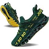 JSLEAP Sneakers Men Fashion Casual Monochrome Running Sports Slip Shock Absorption Running Walking Shoes Dark Green,US 11