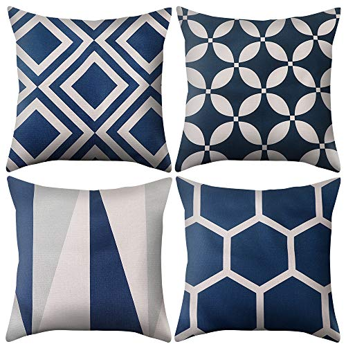 Manooby Fundas de cojín de lino de algodón, fundas de almohada de diseño geométrico, fundas de almohada para sofá cama, coche, 45 x 45 cm, color azul marino