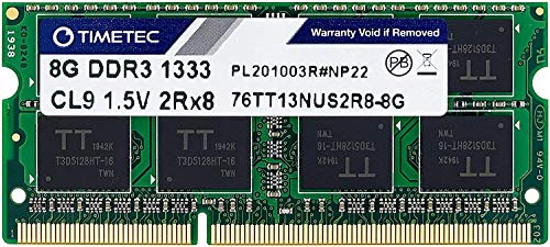 Timetec Hynix IC 8GB DDR3 1333MHz PC3-10600 Unbuffered Non-ECC 1.5V CL9 2Rx8 Dual Rank 204 Pin SODIMM Laptop/Notizbuch Arbeitsspeicher Module Upgrade (8GB)