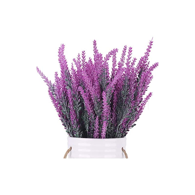 silk flower arrangements bomarolan artificial lavender plant fake flowers wedding bouquet home kitchen office table centerpieces arrangements decor 6pcs (red lotus)