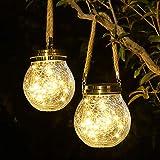 Solar Lantern, 30 LED Outdoor Lanterns Waterproof Solar Glass Jar Lights Solar...
