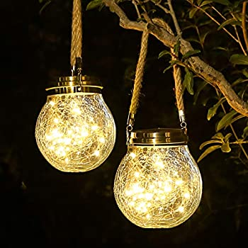 Solar Lantern 2 Pack Outdoor Lanterns with 30 LED Waterproof Solar Lights Garden Decor Patio Solar Lights Outdoor Decorative Backyard Lights Solar Lanterns Outdoor Hanging   Warm Light