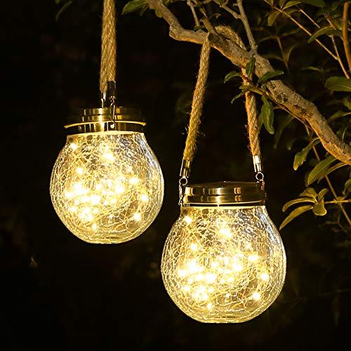 ROSHWEY Solar Lantern, 30 LED Outdoor Lanterns Waterproof Solar Garden Lights Glass Solar Lights Outdoor Decorative Landscape Solar Lanterns Outdoor Hanging ( Warm Light )