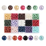 PH PandaHall 1 Box(1050pcs,70pcs/Color) 15 Color Dyed Round Glass Pearl Beads Assortment Lot for Jewelry Making, 6mm, Hole: 1mm