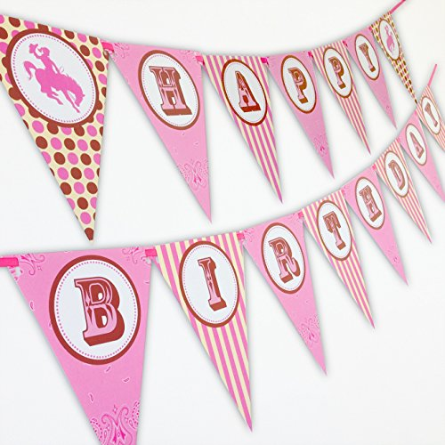 Cowgirl Happy Birthday Banner Pennant