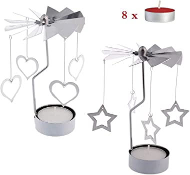 RETON 2 Pcs Metal Rotating Tea Light Candle Holder Silver DIY Spinning Tealight Holder for Home Festival Decoration+8pcs Tealight Candles (Heart&Star)