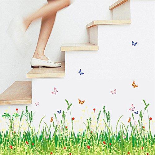 ufengke Wandtattoo Grüne Gras-Wiese mit Roten Blumen Wandaufkleber Wandsticker Schmetterlingen Bunte Entfernbare DIY Vinyl Wanddeko für Kinderzimmer Wohnzimmer Schlafzimmer Baseboard Küche