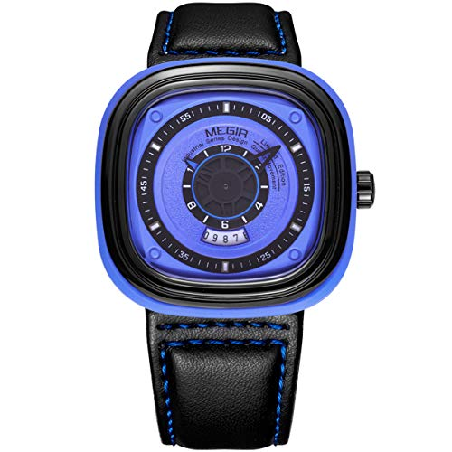 MEGIR Reloj de cuarzo analógico luminoso, informal, con correa de poliuretano, esfera grande, para negocios, trabajo, escuela, al aire libre, ML2027G/BKBE-2