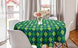 Lunarable Blue Green Round Tablecloth, Graphic Argyle Pattern Old Fashioned Rhombus Shapes with Dashed Lines, Circle Table Cloth Cover for Dining Room Kitchen Decoration, 60', Blue Green and Yellow
