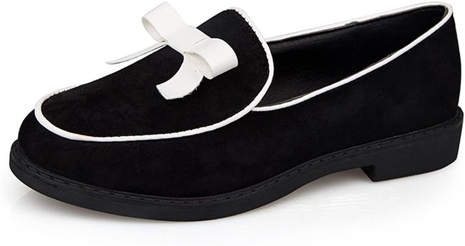 Btrada Women's Bowknot Loafer Penny shoes  Round Toe Low Thick Heel Boat Flat shoes Dress Oxford shoes