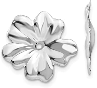 14k White Gold Flower Polished Floral Earrings Jackets Jewelry Gifts for Women