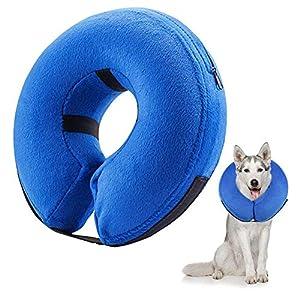 Boniuiu Collier Gonflable de Récupération Collerette de Protection Ajustable Cône de Cicatrisation Confortable pour Chien