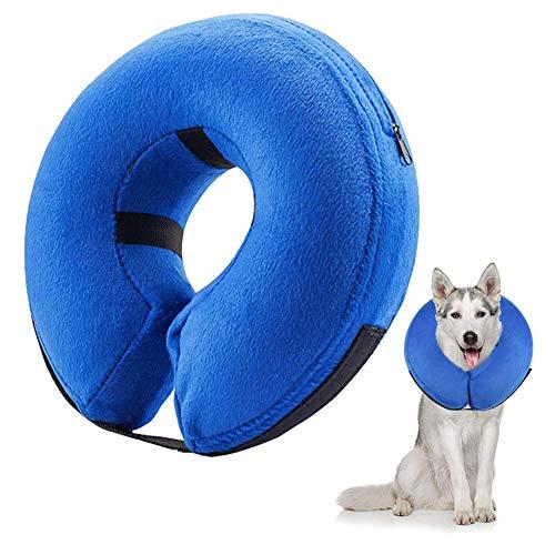 Frifer Aufblasbar Halsband für Haustier Hund Katze Kragen Schutz Einstellbar Bequem Schutzkragen mit Magic Reißverschluss, M (Halsumfang: 25 - 33cm / 9.9 - 12.9in)