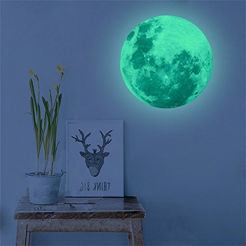 Zegeey 40 cm 3D Large Moon Fluorescent Wall Stickers Removable Glow in the Dark Sticker Home Decor, PVC, c, 40CM(Diameter)