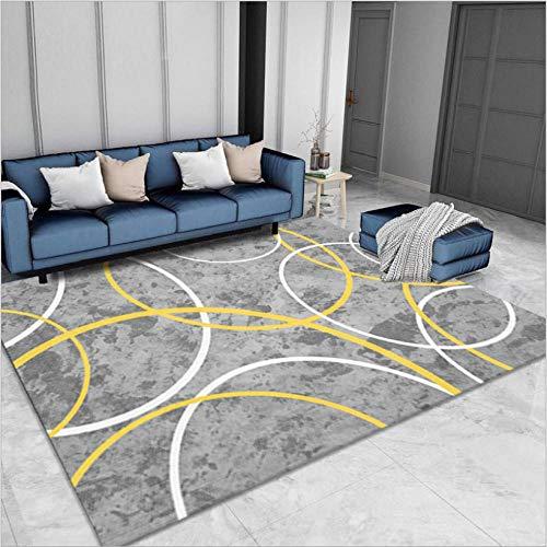 Rug Modernas Dormitorio Sala de Estar Antideslizante Mat Durable Fácil Mantenimiento Línea Amarilla Blanca Gris 60X110CM(2ft x 3.6ft)