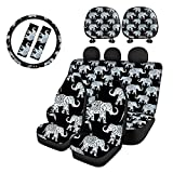 Micandle Black Bohemia Elephant Car Seat Covers Full Set 9 PCS,2pc Front Seat Cover+2pc Rear Bench Seat Cover+2pc Seatbelt Cover Pad+2pc Headrest Cover+1pc Steering Wheel Cover Universal