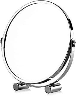 YXZQ Makeup Mirror, Free Standing Swivel Magnifying Mirror, Portable Chromed Metal Cosmetic Vanity Mirror with 3X Magnification, Double-Sided Make Up Mirror, Table Rotating Bathroom Shaving Mirro