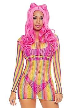 Leg Avenue Women s Fishnet Long Sleeve Halter Dress Pink/Yellow One Size Fit Most