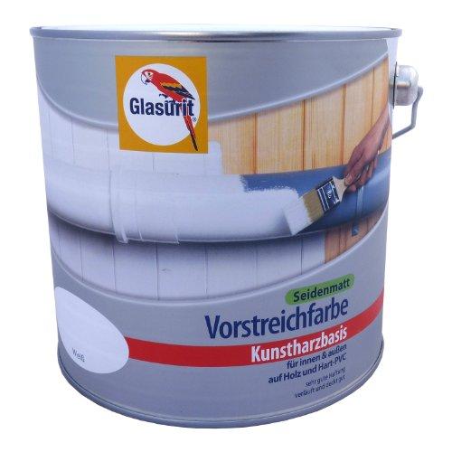 Glasurit Vorstreichfarbe, 2,5 Liter, Weiß Seidenmatt, Kunstharzbasis, innen & außen