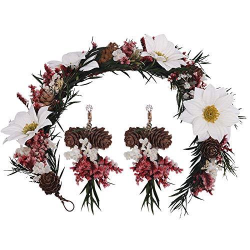 QSBR Blumenkranz Haare Weinlesetrockenblumenliebhabergrashaarband-Ohrclips Sen Weiße Weiße Blumen Und Blumenkopfschmuck