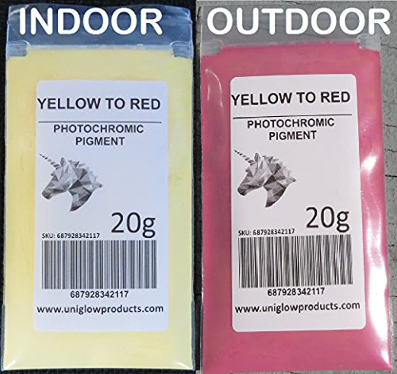 PhotoChromic Pigment Changes Colors When Exposed to Sunlight or UV Light, and reverts to its Original Color When Sunlight is Blocked. (2g, Yellow to Red)