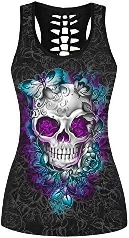 Aivtalk Camiseta sin Mangas con Impresión Calavera Chaleco Casual Atractivo Verano para Chicas Mujeres