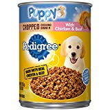 PEDIGREE Puppy Canned Wet Dog Food Chopped Ground Dinner with Chicken & Beef, (12) 13.2 oz. Cans
