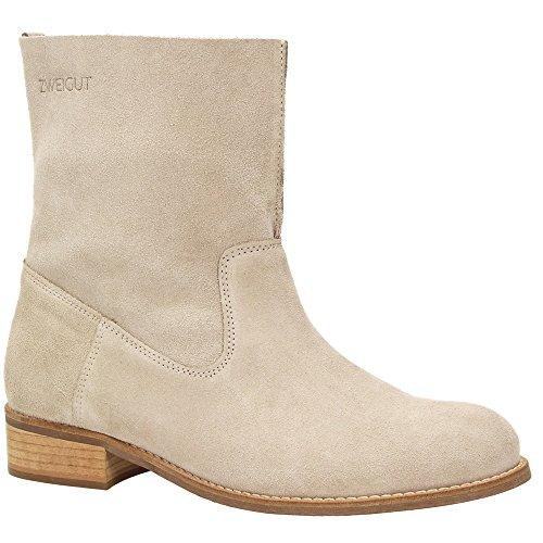 Zweigut® -Hamburg- smuck #210 Leder Stiefelette Damen Herbst mit Komfort MemoryFoam-Innensohle Wildleder Frühling Schuhe, Schuhgröße:39, Farbe:beige