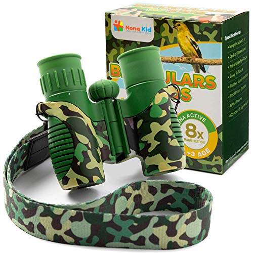 Nona Kid Bird Watching Binoculars for Kids and Adults - Compact with 8X21 Magnification - Including Neck Strap and Camo Design - for Bird Watching, Hiking, Hunting and Camping