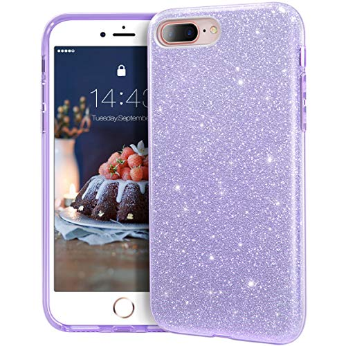 MATEPROX iPhone 8 Plus case,iPhone 7 Plus Glitter Bling Sparkle Cute Girls Women Protective Case for iPhone 7 Plus/8 Plus 5.5' (Purple)