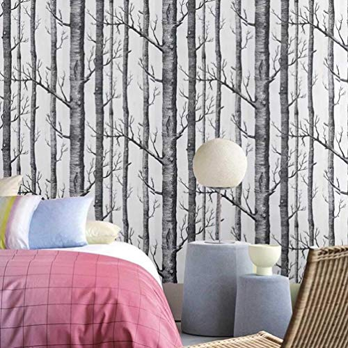SLGJYY Birke-Baum-Tapete Für Schlafzimmer-modernes Entwurfs-Wohnzimmer-Tapeten-Rolle Rustikale Wald-Holz-Tapeten