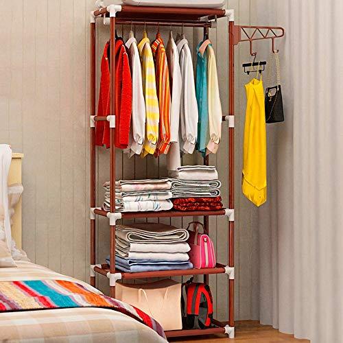XYBB Armario Dormitorio Simple Metal Iron Floor Standing Bedroom Muebles Home Organizador 170 * 55 * 35cm Marrón