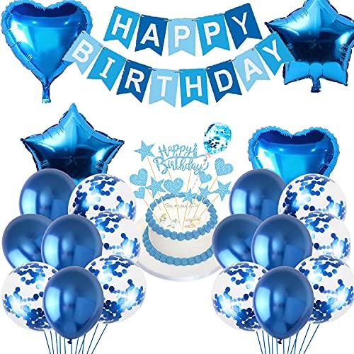 Cumpleaños Globo Azul, Globos de Confeti y Globos de Aluminio, Pancarta de Happy Birthday Azul, Bandera de la Torta, Kit de Decoración de Cumpleaños, para Graduacion Fiesta Niño y Niña