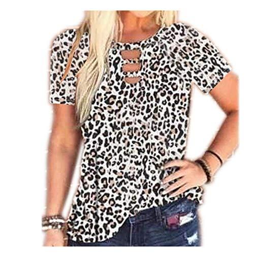 Derrick Aled(k) zhuke T-Shirt Manches Courtes col Rond imprimé léopard pour Femme d'été Femme