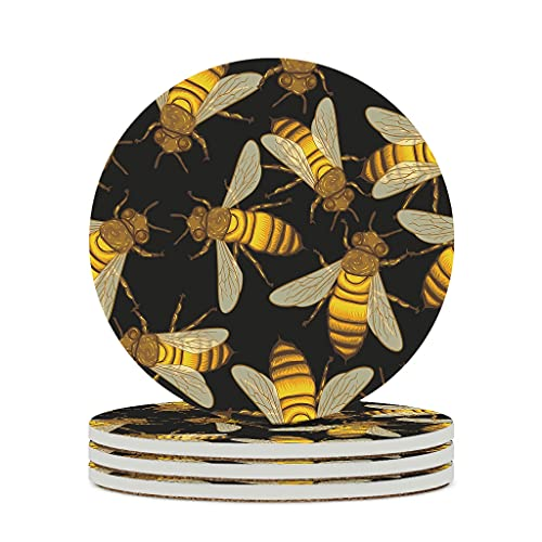 KittyliNO5 Posavasos redondo de cerámica con diseño de insectos y abejas, juego de 4 o 6 posavasos para bebidas con dorso de corcho para tazas, mesa o bar, cristal, color blanco, 4 unidades
