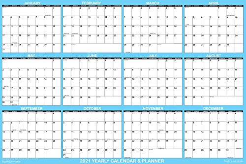 """SwiftGlimpse Large 24"""" x 36"""" Erasable Laminated 2020 Wall Calendar Poster, 2-Sided Horizontal/Vertical Reversible, 12 Month Yearly Annual Planner - Blue"""