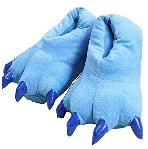 LANFIRE Zapatillas de casa de Felpa Suave Unisex Animal Disfraz de Pata de Garra (S(tamaño del niño 28-34), Azul(Blue))