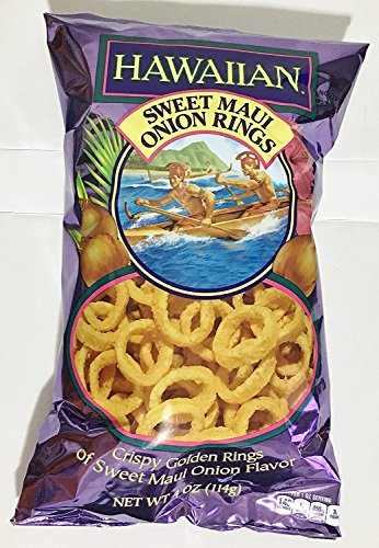 Hawaiian, Sweet Maui Onion Rings, Crispy Golden Rings, 4oz Bag (Pack of 3)