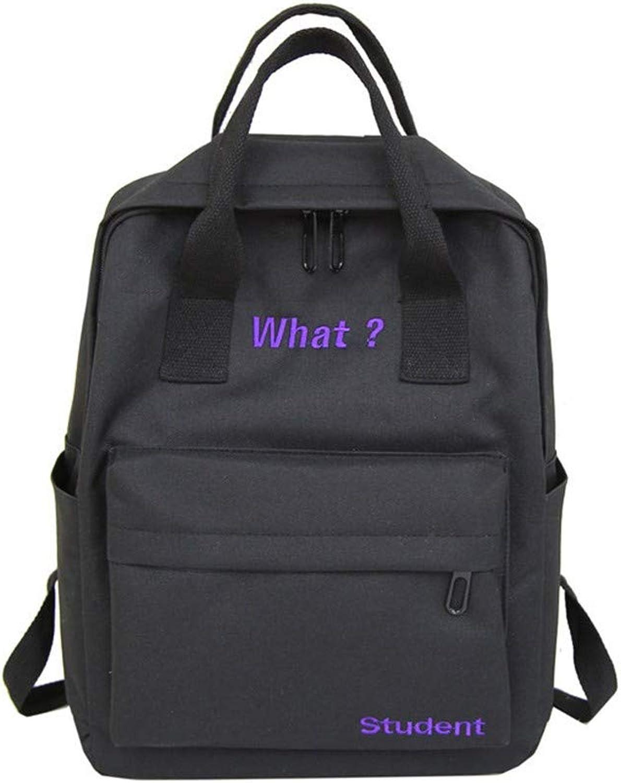 AUULANG Backpack Canvas Backpack Female College Style Fresh Bag Handbag Backpack, Black