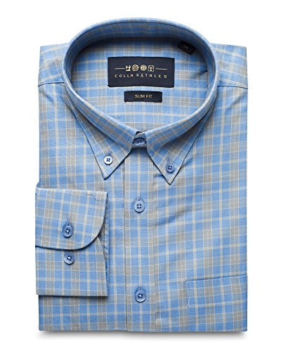 Collar Tales Men#039s Checkered Superfine Cotton Slim Fit Narrow Collar Button Down Long Sleeve MultiCheck Dress Shirt with Pocket Light Blue amp Grey