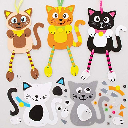 Baker Ross FE396 Moosgummi Katze Bastelset mit Perlen für Kinder - 5er Pack, Set für Kinder zum Basteln und Dekorieren, Ideal für Kindergeburtstag Basteln