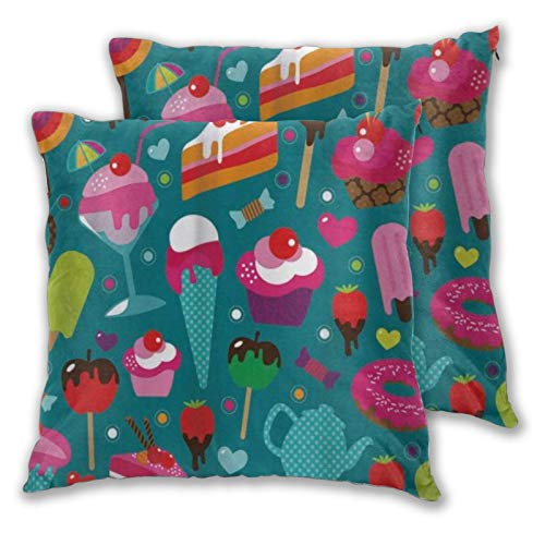 LONSANT Fundas de Cojines 45x45cm,Cool Seamless Cute Cup Cake Candy y patrón de Tetera,decoración Cuadrado Fundas de Almohada Funda de cojín para sofá Dormitorio,Pack de 2