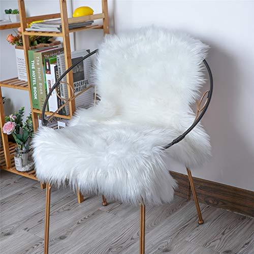 HLZHOU Soft Faux Sheepskin Fur Rug Fluffy Fur Chair Cover Seat Pad Non-Slip Area Rug for Bedroom Living Room Floor Kids Room (2 x 3 Feet (60 x 90 cm) White)