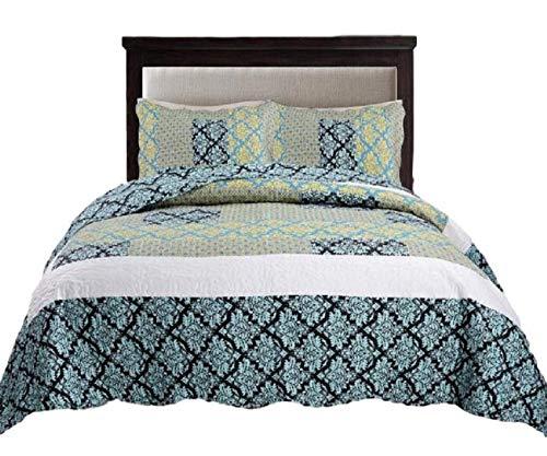 Tache 3 Piece Blue Ivy Damask Turquoise Teal Reversible Patchwork Lightweight Summer Matelasse Bedspread Coverlet Quilt Set, Cal King