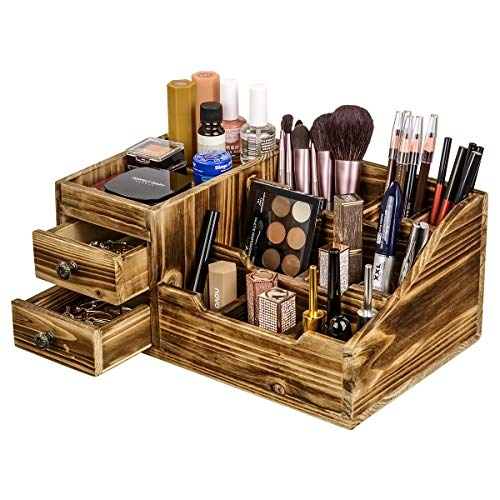 Organizador de Escritorio de Madera rústica Organizador de Maquillaje y Almacenamiento 2 cajones y 9 Compartimentos para el...