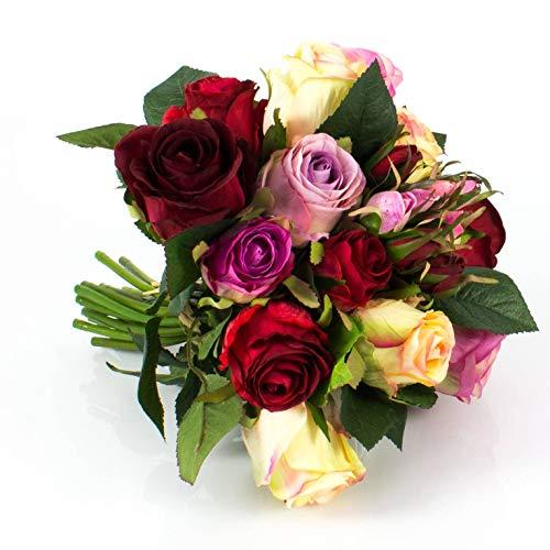 artplants.de Künstlicher Rosenstrauß Große Molly, 15 Rosen, 9 Knospen, Creme - Altrosa - rot, 28cm, Ø 25cm - Deko Rosen - Kunstblumenstrauß