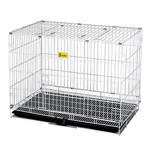 SLTO Moderna Cable Metálico Jaula De Perro Plegable Casa De Perro para Interior Mascotas Perrera del Cajón con Retirable Plástico Bandeja-Plata 47x30x40cm