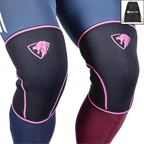 Impulse Sportz 7mm Knee Sleeves: Knee Compression Sleeves for Powerlifting, Squats, Bodybuilding, Weightlifting – Superior Support and Range of Motion – Knee Sleeves for Men and Women